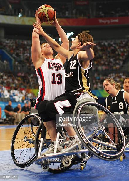 Loraine Gonzales of the United States shoots during the Women's Gold medal Wheelchair Basketball match between the United States and Germany at the...
