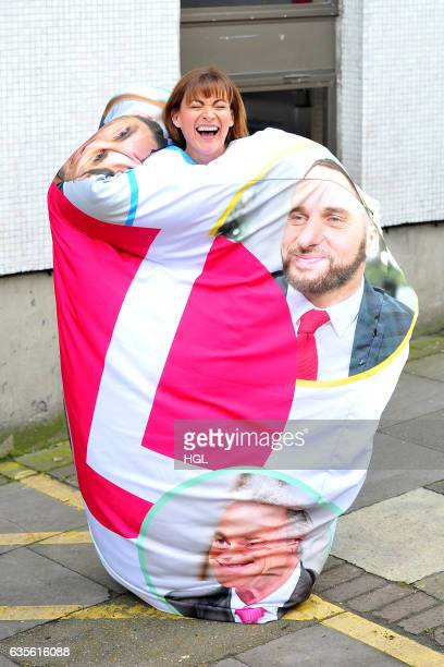 Loraine Kelly seen carrying a a Duvet with faces of her copresenters at the ITV studios on February 16 2017 in London England