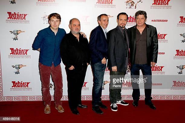 Lorant Deutsch Guillaume Briat Elie Semoun Alexandre Astier and Lionnel Astier attend the Premiere of 'Asterix Le Domaine Des Dieux' at Le Grand Rex...