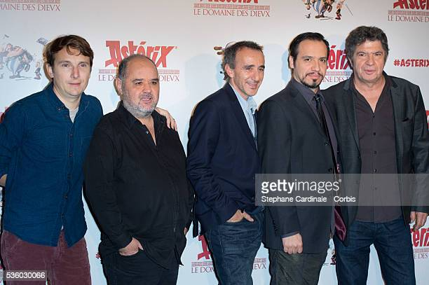 Lorant Deutsch Guillaume Briat Elie Semoun Alexandre Astier and Lionnel Astier attend the 'Asterix Le Domaine des Dieux' Premiere at Le Grand Rex on...