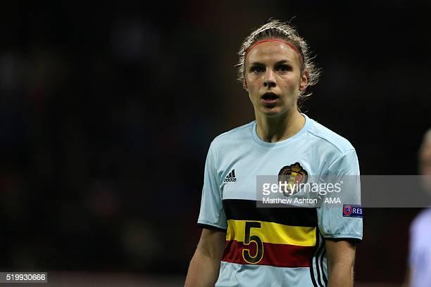 Lorca Van De Putte of Belgium during the UEFA Women's European Qualifer between England and Belgium at The New York Stadium on April 8 2016 in...