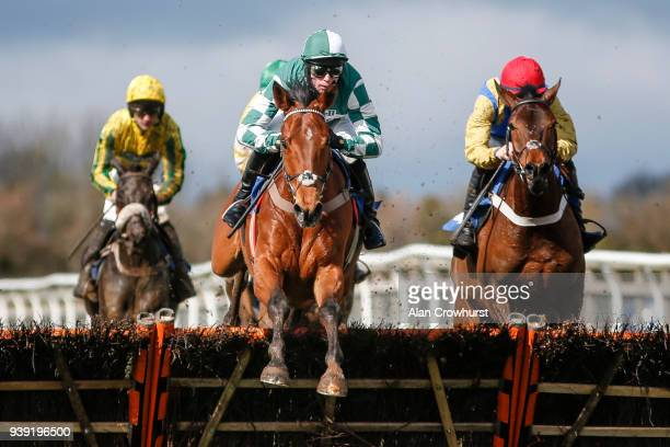 Lorcan Williams riding Captain Cattistock on their way to winning The Smarkets Novices' Hurdle Race at Wincanton Racecourse on March 28 2018 in...