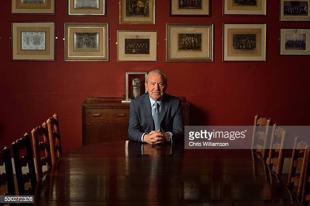 Lord Alan Sugar poses for portrait before addressing The Cambridge Union on May 10 2016 in Cambridge Cambridgeshire The Cambridge Union Society has...