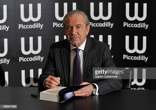 Lord Alan Sugar signs copies of his new book 'What You See Is What You Get' at Waterstones Piccadilly on October 26 2010 in London England