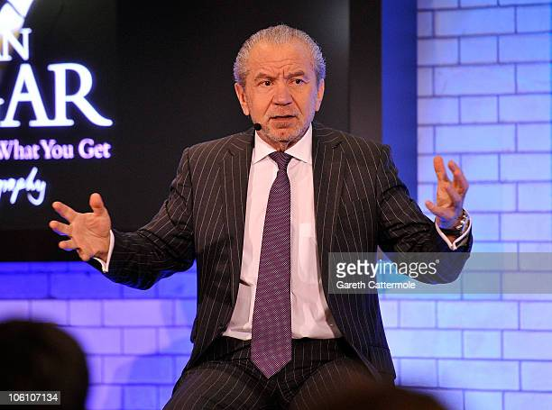 Lord Alan Sugar talks during a visit to the Apple Store in Covent Garden on October 26 2010 in London England
