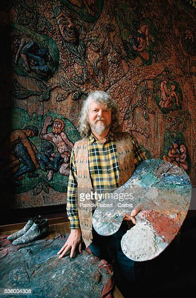 Lord Alexander Thynn 7th Marquess of Bath holds his painter's pallet in a room he has decorated with a mural at Longleat House Lord Thynn himself...