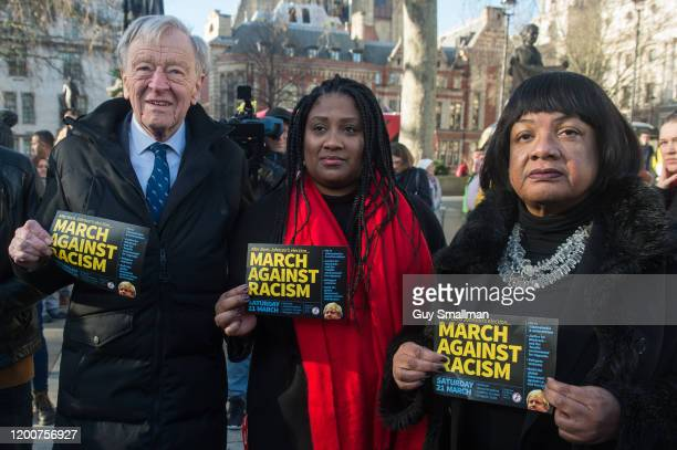 Lord Alf Dubs Streatham MP Bell RibeiroAddy and Diane Abbott at Parliament Square on January 20 2020 in London England The SAFE PASSAGE charity...