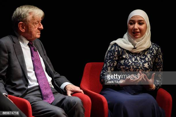Lord Alfred 'Alf' Dubs and Diana Legacy Award winner Maya Ghazal take part in a QA during the Human Flow premiere at Milton Court Concert Hall on...