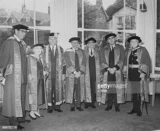 Lord Alfred Robens Chairman of the National Coal Board wearing cap and gown as he is installed as the new Chancellor of the University of Surrey...