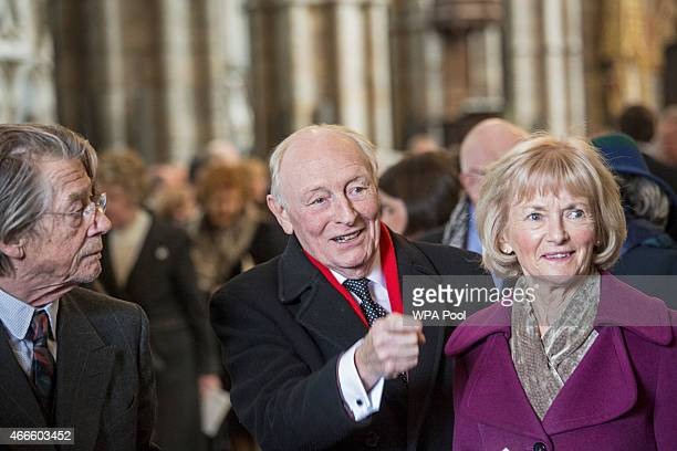 Lord and Lady Kinnock and British actor John Hurt attend a service of thanksgiving for the life and work of Lord Attenborough CBE at Westminster...