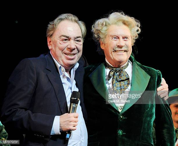Lord Andrew Lloyd Webber and actor Michael Crawford celebrates Michael's 70th birthday onstage following a performance of 'The Wizard Of Oz' at the...
