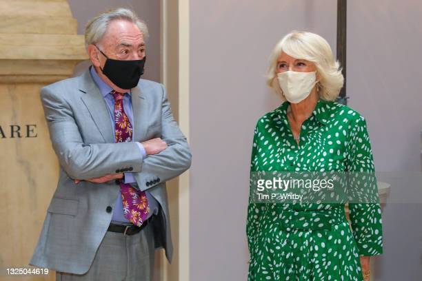 Lord Andrew Lloyd Webber and Camilla, Duchess of Cornwall during a visit to Theatre Royal on June 23, 2021 in London, England. Theatre Royal Drury is...
