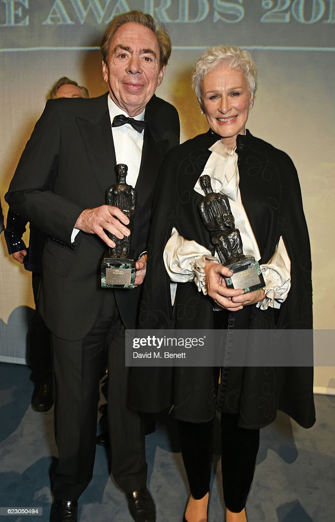 Lord Andrew Lloyd Webber (L) and Glenn Close attend The 62nd London Evening Standard Theatre Awards after party, recognising excellence from across the world of theatre and beyond, at The Old Vic Theatre on November 13, 2016 in London, England.