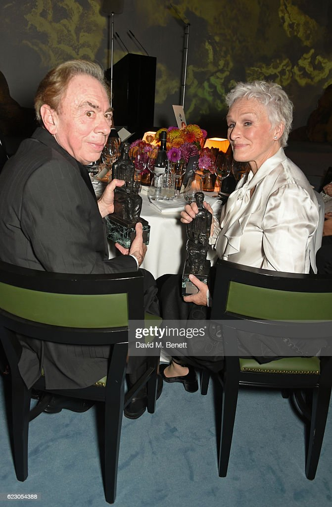 Lord Andrew Lloyd Webber (L) and Glenn Close attend the 62nd London Evening Standard Theatre Awards, recognising excellence from across the world of theatre and beyond, at The Old Vic Theatre on November 13, 2016 in London, England.