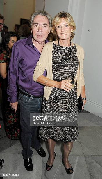 Lord Andrew Lloyd Webber and Lady Madeleine Lloyd Webber attend a private view of 'Portraits' a new exhibition by Jonathan Yeo at the National...