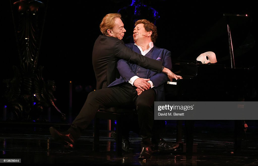 Lord Andrew Lloyd Webber (L) and Michael Ball perform onstage at 'The Phantom Of The Opera' 30th anniversary charity gala performance in aid of The Music in Secondary Schools Trust at Her Majesty's Theatre on October 10, 2016 in London, England.