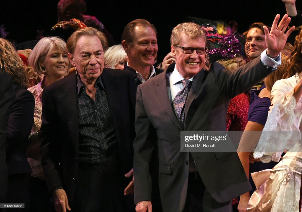 Lord Andrew Lloyd Webber (L) and Michael Crawford bow onstage at 'The Phantom Of The Opera' 30th anniversary charity gala performance in aid of The Music in Secondary Schools Trust at Her Majesty's Theatre on October 10, 2016 in London, England.