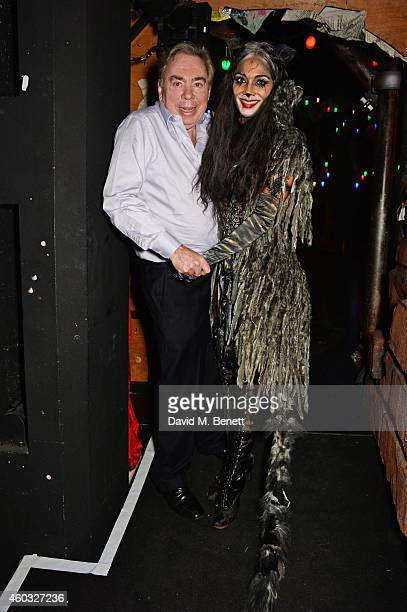 Lord Andrew Lloyd Webber and Nicole Scherzinger pose backstage following the press night performance of 'Cats' as Nicole Scherzinger joins the cast...
