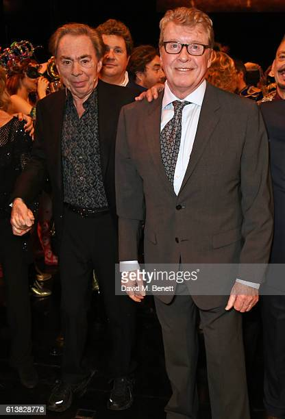 Lord Andrew Lloyd Webber and original Phantom Michael Crawford pose onstage at The Phantom Of The Opera 30th anniversary charity gala performance in...