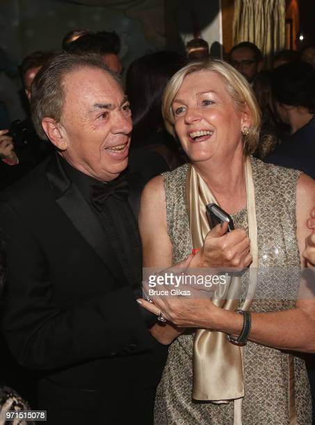 Lord Andrew Lloyd Webber and wife Madeline Lloyd Webber pose at the 2018 OM Private Tony After Party at The Carlysle Hotel on June 10 2018 in New...