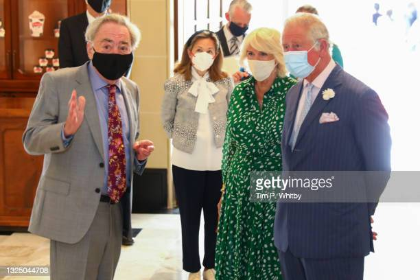 Lord Andrew Lloyd Webber, Camilla, Duchess of Cornwall and Prince Charles, Prince of Wales during a visit to Theatre Royal on June 23, 2021 in...
