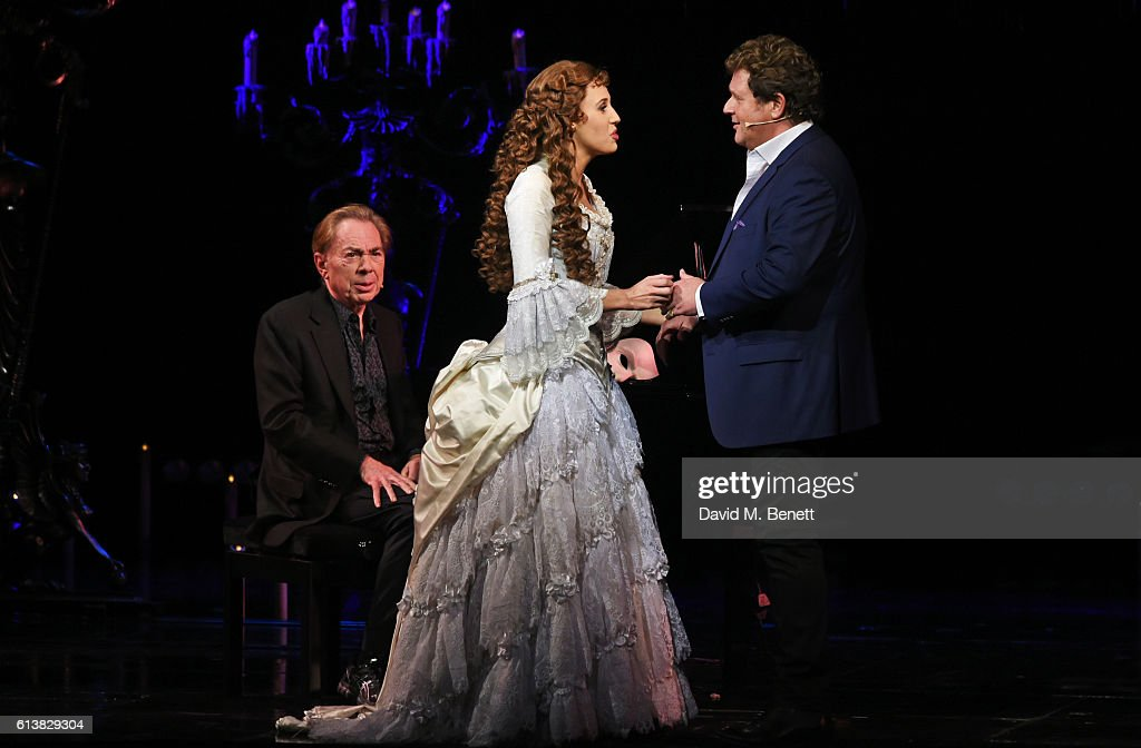 Lord Andrew Lloyd Webber, Celinde Schoenmaker and Michael Ball perform onstage at 'The Phantom Of The Opera' 30th anniversary charity gala performance in aid of The Music in Secondary Schools Trust at Her Majesty's Theatre on October 10, 2016 in London, England.