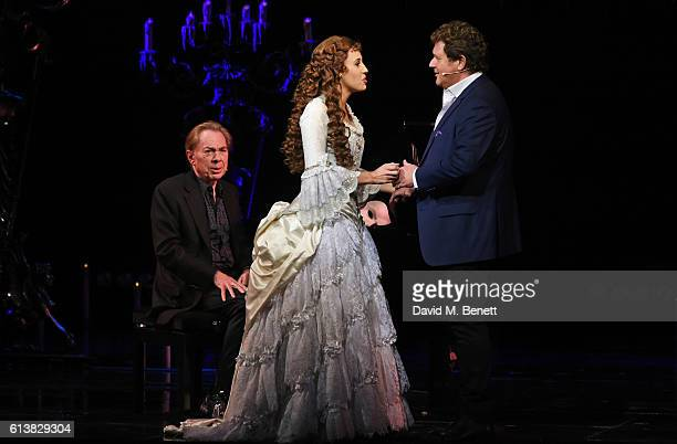 Lord Andrew Lloyd Webber Celinde Schoenmaker and Michael Ball perform onstage at 'The Phantom Of The Opera' 30th anniversary charity gala performance...