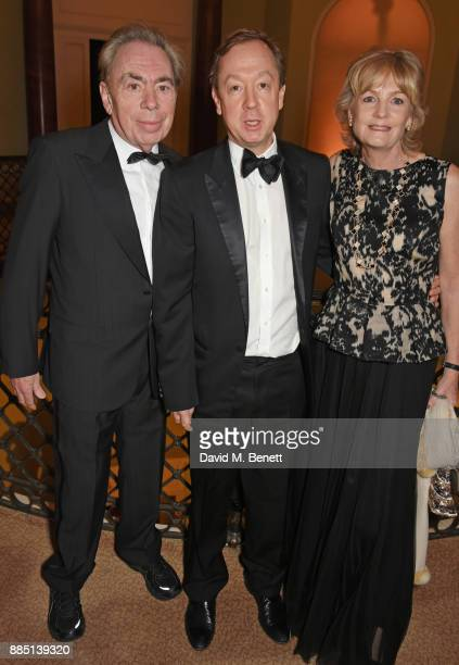 Lord Andrew Lloyd Webber Geordie Greig and Lady Madeleine Lloyd Webber attend a drinks reception ahead of the London Evening Standard Theatre Awards...