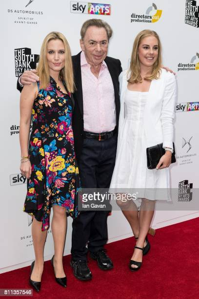 Lord Andrew Lloyd Webber Imogen Lloyd Webber and Isabella Aurora Lloyd Webber attend The Southbank Sky Arts Awards 2017 at The Savoy Hotel on July 9...