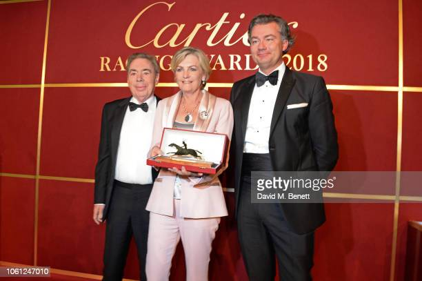 Lord Andrew Lloyd Webber Lady Madeleine Lloyd Webber and Laurent Feniou attend the 2018 Cartier Racing Awards at The Dorchester on November 13 2018...