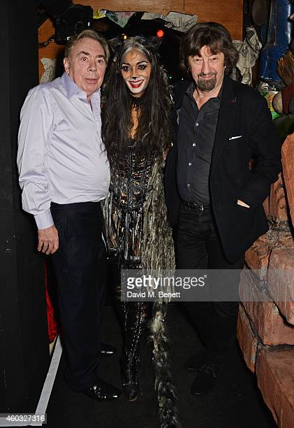 Lord Andrew Lloyd Webber Nicole Scherzinger and Sir Trevor Nunn pose backstage following the press night performance of 'Cats' as Nicole Scherzinger...