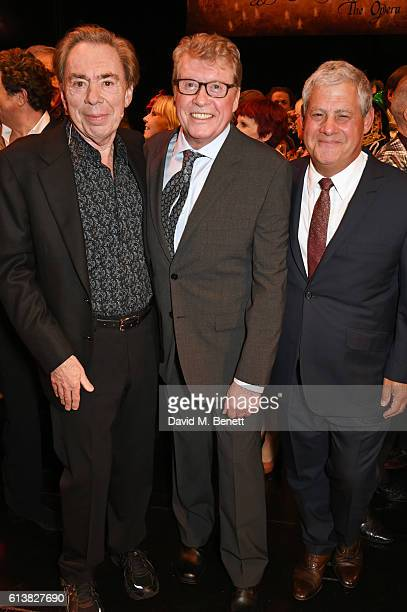 Lord Andrew Lloyd Webber original Phantom Michael Crawford and Sir Cameron Mackintosh pose onstage at The Phantom Of The Opera 30th anniversary...