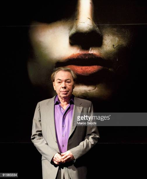 Lord Andrew Lloyd Webber poses at the photocall for Love Never Dies at Her Majesty's Theatre on October 8 2009 in London Love Never Dies is Lord...