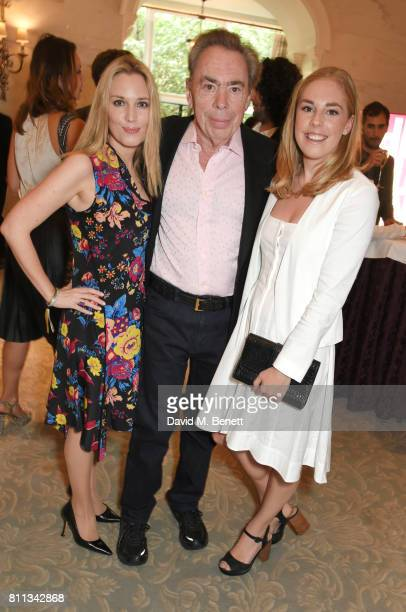 Lord Andrew Lloyd Webber poses with daughters Imogen Lloyd Webber and Isabella Aurora Lloyd Webber at The South Bank Sky Arts Awards drinks reception...