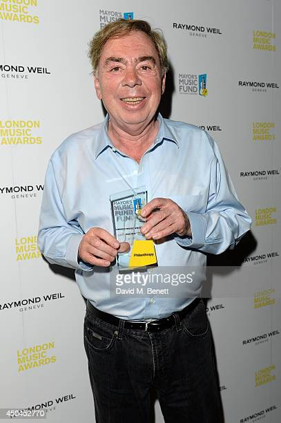 Lord Andrew Lloyd Webber poses with his Philanthropist Award in the winners room as he attends the inaugural London Music Awards which took place at...