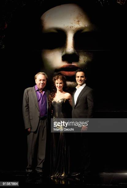 Lord Andrew Lloyd Webber poses with Sierra Boggess and Ramin Karimioo at the photocall for Love Never Dies at Her Majesty's Theatre on October 8 2009...