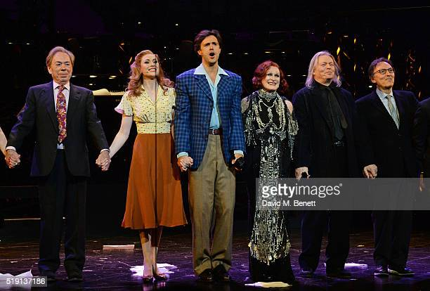Lord Andrew Lloyd Webber Siobhan Dillon Michael Xavier Glenn Close Christopher Hampton and Don Black bow at the curtain call during the press night...
