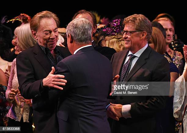 Lord Andrew Lloyd Webber Sir Cameron Mackintosh and Michael Crawford bow onstage at The Phantom Of The Opera 30th anniversary charity gala...