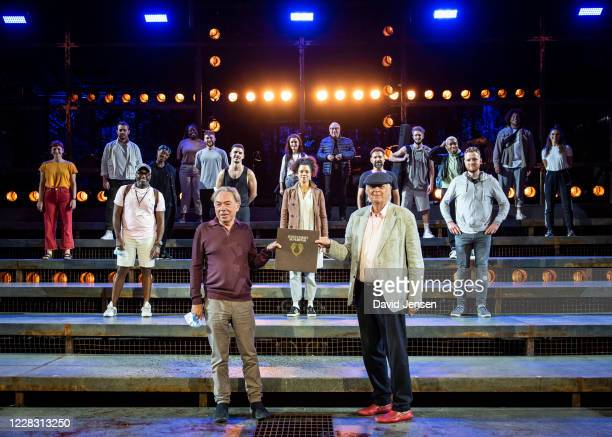 Lord Andrew Lloyd-Webber and Sir Tim Rice attend a socially distanced performance of 'Jesus Christ Superstar: The Concert' at Regent's Park Open Air...