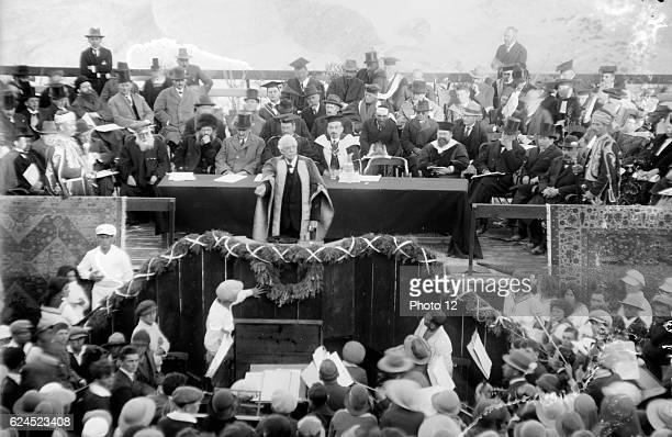 Lord Balfour declaring the Hebrew University Jerusalem Palestine 1925 Lord Balfour was a British Conservative politician and statesman