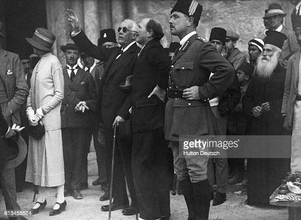 Lord Balfour the Conservative statesman and former Prime Minister points out a feature to Sir Ronald Storrs during a visit to the church of the Holy...