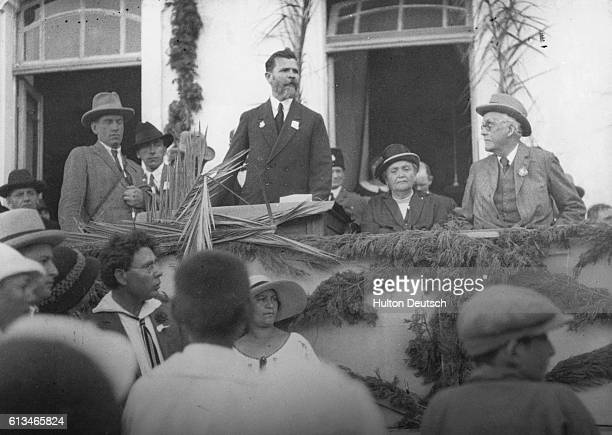 Lord Balfour the Conservative statesman and former Prime Minister listens to an address during his 1925 visit to Palestine