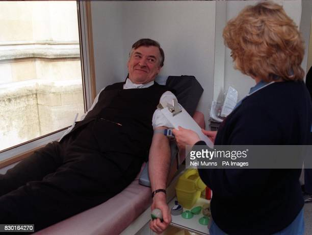Lord Blackrod attending a blood donating session at Black Rod's Garden Westminster to promote new 'swipe' donor cards and raise awareness that the...