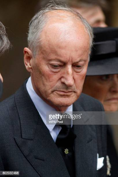 Lord Brabourne after the funeral service of Patricia Knatchbull Countess Mountbatten of Burma at St Paul's Church in Knightsbridge on June 27 2017 in...