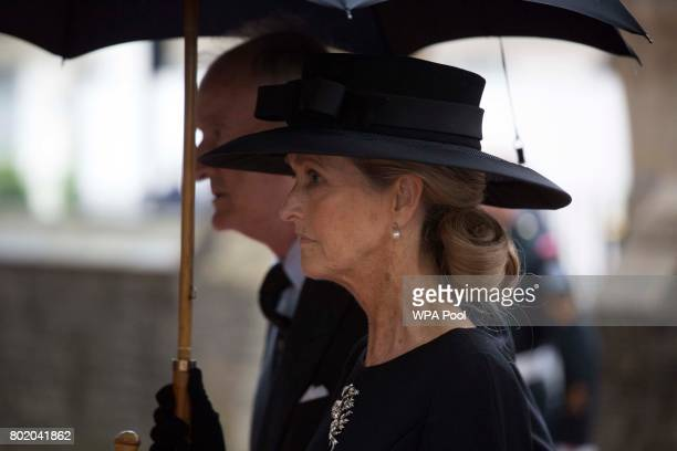 Lord Brabourne and Lady Brabourne arrive for the funeral service of Patricia Knatchbull Countess Mountbatten of Burma at St Paul's Church in...