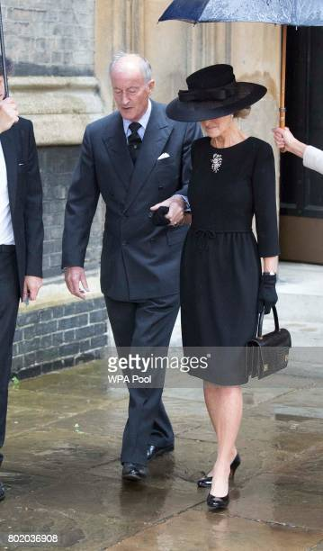 Lord Brabourne and Lady Brabourne attend the funeral service of Patricia Knatchbull Countess Mountbatten of Burma at St Paul's Church in...