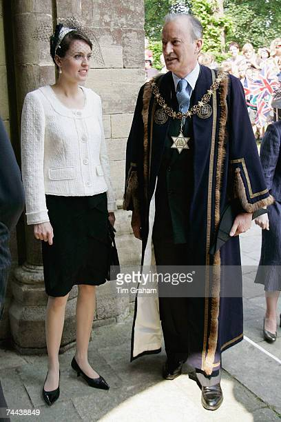 Lord Brabourne formerly Lord Romsey waits in official robes with his daughter Alexandra Brabourne during the Queen's visit to Romsey on June 8 2007...
