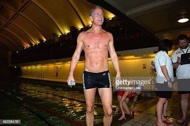 Lord Brian Paddick smiles after winning the race for the House of Lords during the The House of Lords v House of Commons Speedo Charity Swim at...