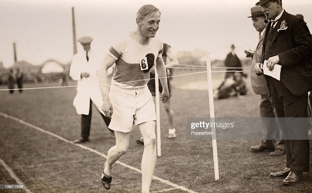 Lord Burghley competed at the Paris Olympic Games in 1924 and was the winner of the gold medal in the men's 400 metres hurdles event at athe 1928 Olympic Games in Amsterdam. In this photograph he wins the 440 yards hurdles final for the Achilles Athletic Club at the Midland Counties AAA Championships in Birmingham on 15th June 1929.