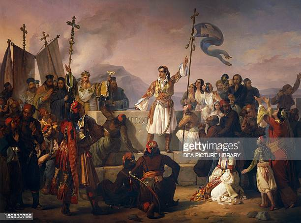 Lord Byron swearing an oath on Marco Botzaris' tomb by Ludovico Lipparini oil on canvas 250x350 cm Italy 19th century Treviso Museo Civico
